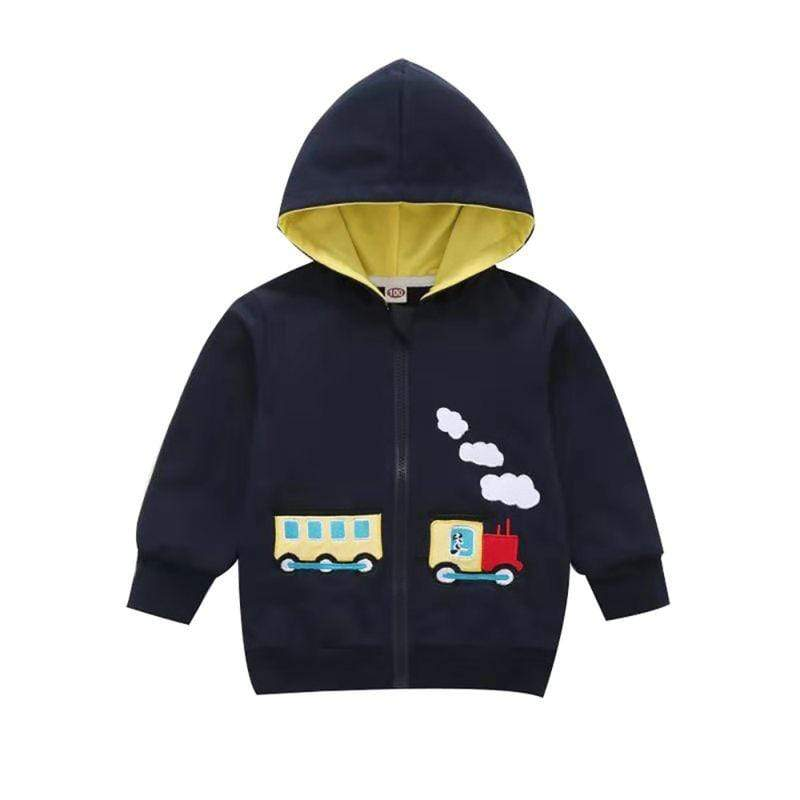 Little Boys Train Hooded Jacket - The Palm Beach Baby