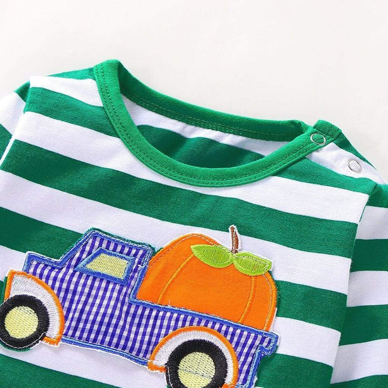 """Trucking Pumpkin"" Jumpsuit - The Palm Beach Baby"