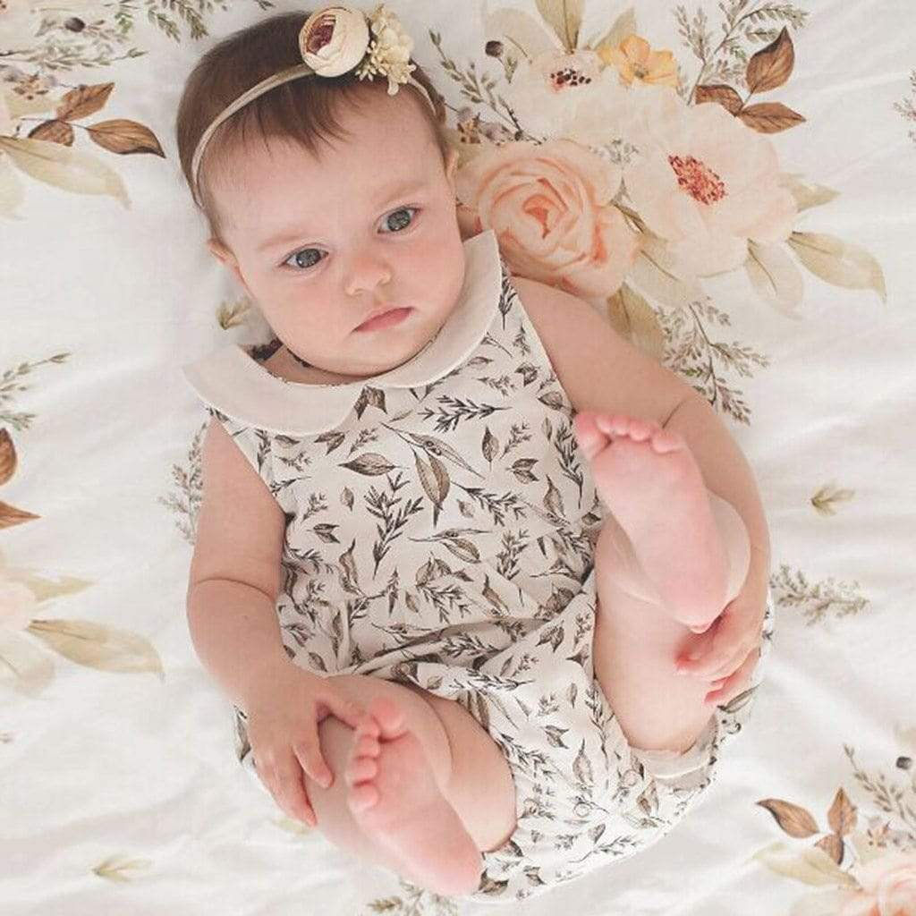 """Victoria"" Floral Romper With Peter Pan Collar - The Palm Beach Baby"
