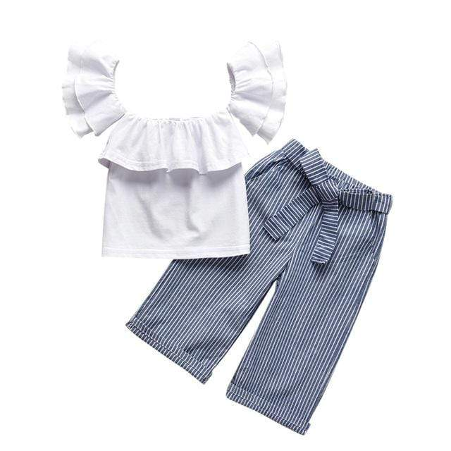 "Baby & Kids Apparel White / 24M / United States ""Piper"" 2 PC Pants Set  For Little Girls -The Palm Beach Baby"