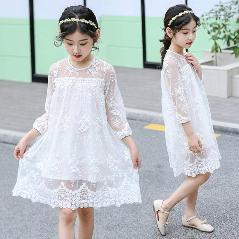 """Pretty In Lace"" Girls Embroidered Dress - The Palm Beach Baby"