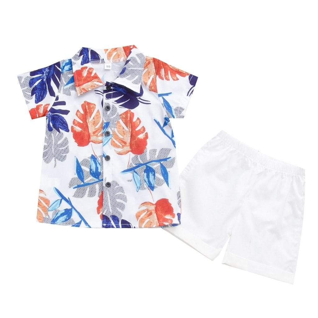 Red White And Blue Palm Print Shorts Set - The Palm Beach Baby