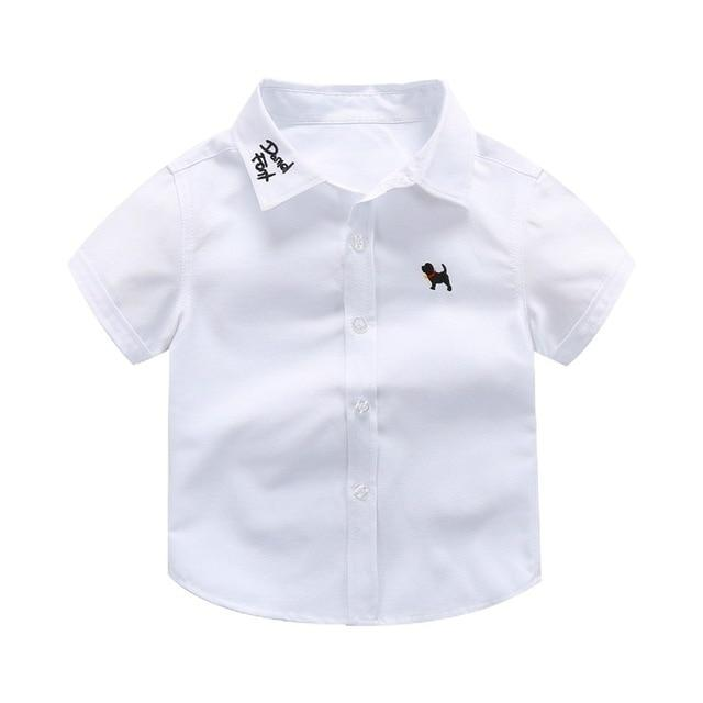 Short-Sleeved Embroidered Boys Shirt - The Palm Beach Baby