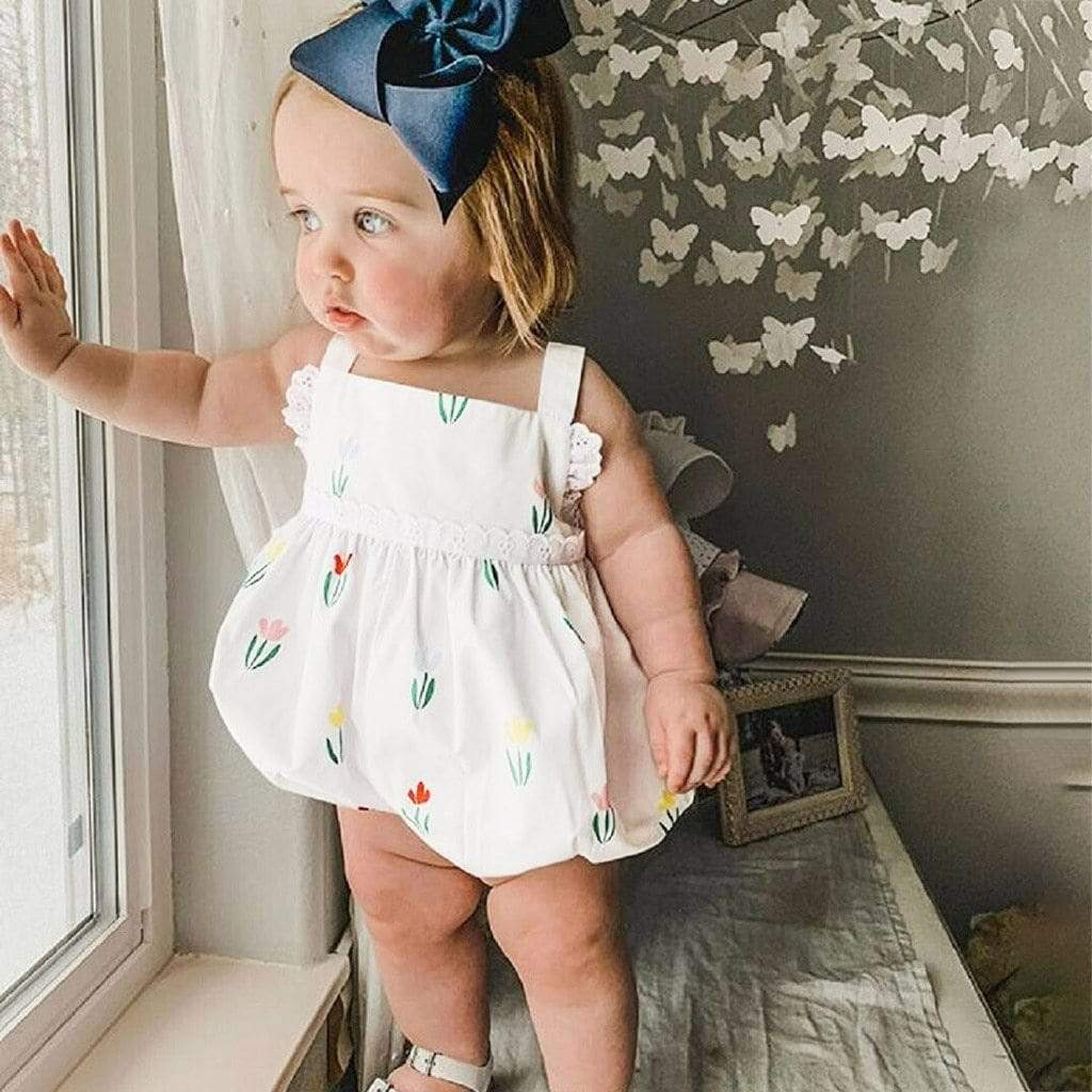 "Classic ""Emily"" Bubble Floral Romper - The Palm Beach Baby"
