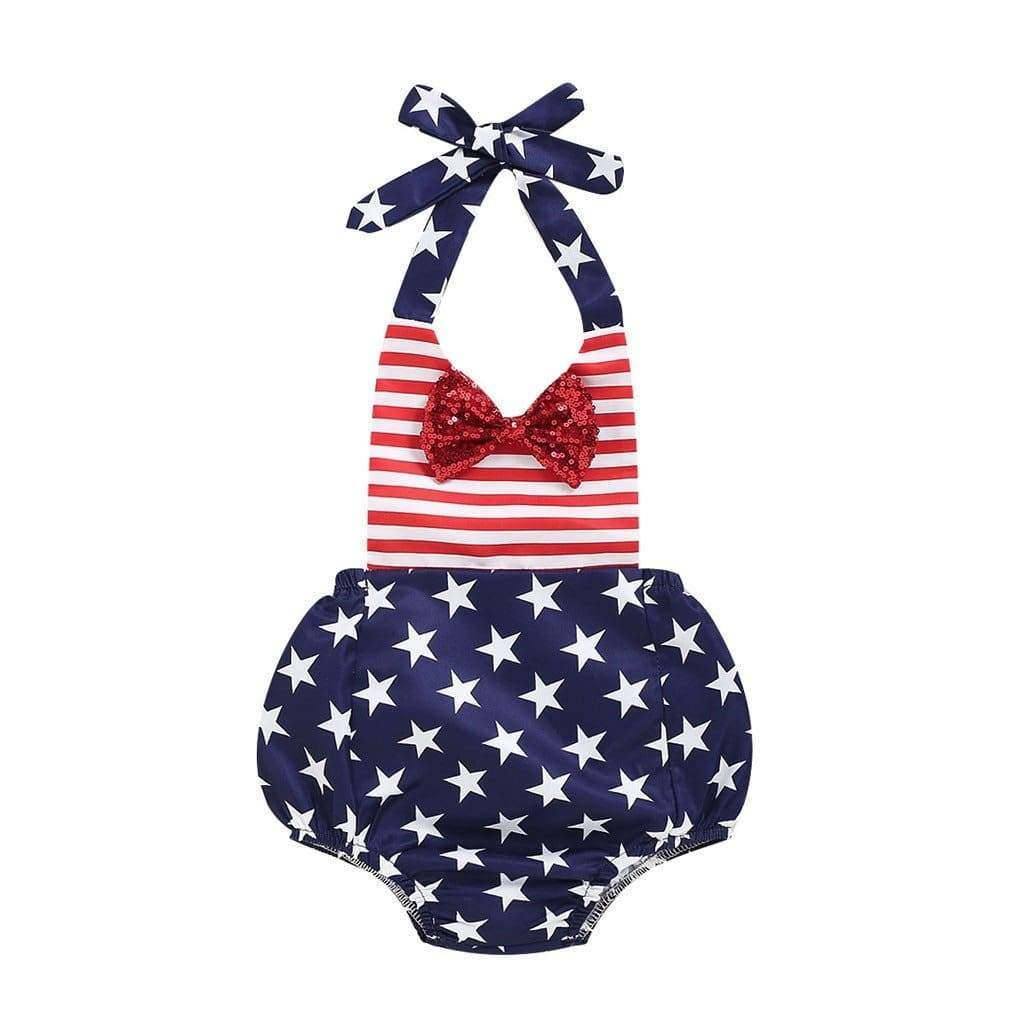 """Yankee Doodle Baby"" Halter Romper - The Palm Beach Baby"