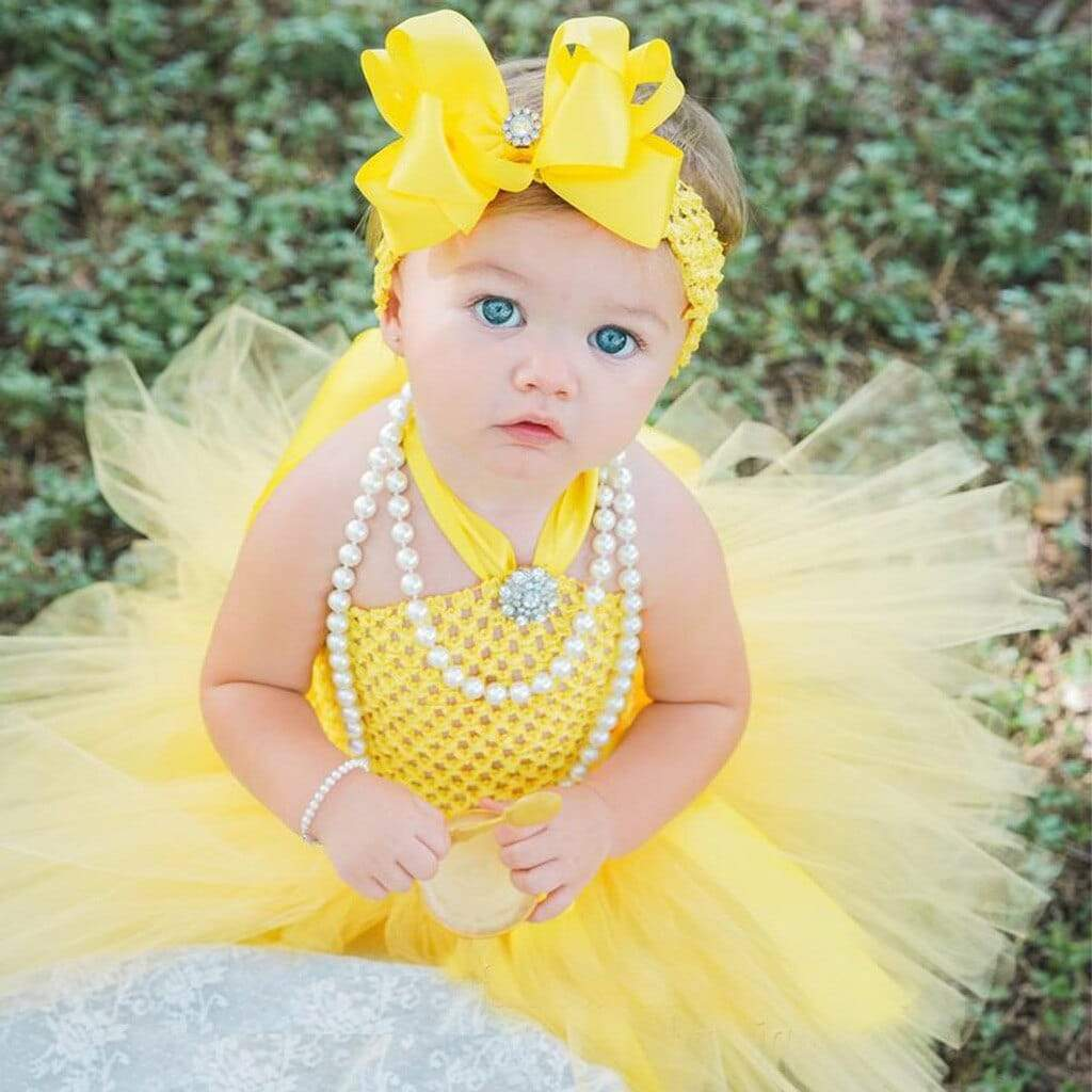 """Precious In Yellow"" Little Girls Tutu Dress Set - The Palm Beach Baby"