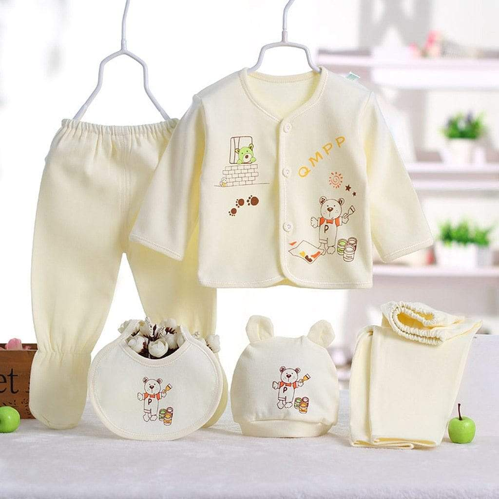 Infant's 5 PC Cotton Layette Clothes Set (2 Designs) - The Palm Beach Baby