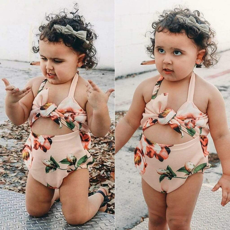"""Floral Cutie""  One Piece Swimsuit - Pink - The Palm Beach Baby"