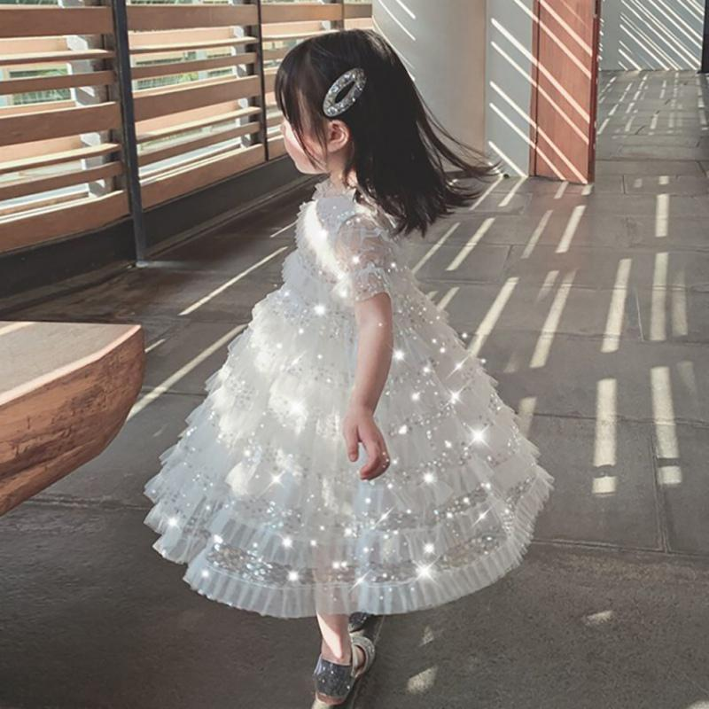 """Kimberly-Ann"" Sparkly White Lace Dress - The Palm Beach Baby"