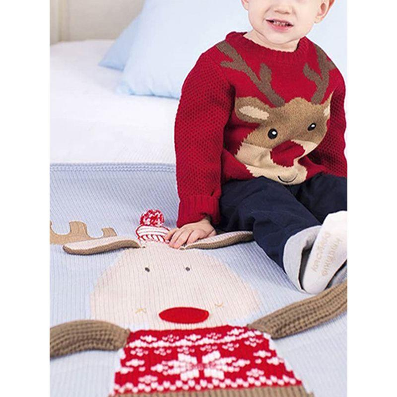 """Rudy The Reindeer"" Knitted Blanket - The Palm Beach Baby"