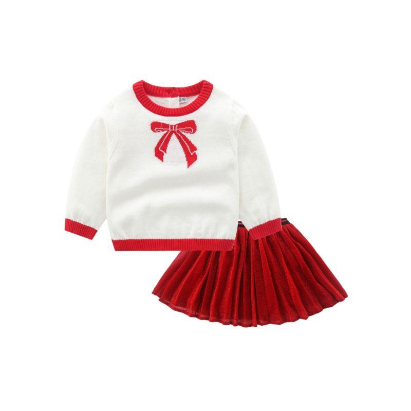 Bow Sweater + Matching Knit Skirt Set - The Palm Beach Baby