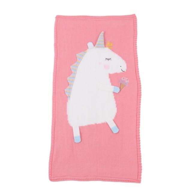 """Uni The Unicorn"" Children's Knit Blanket - The Palm Beach Baby"