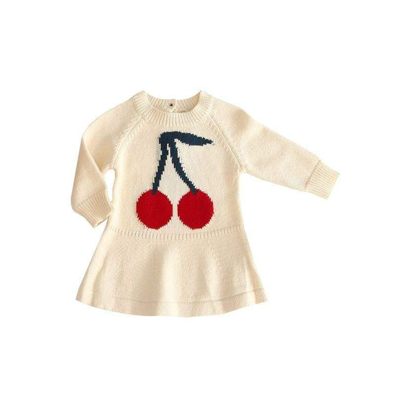"""Cherry Cute"" Long-Sleeved Knit Dress - The Palm Beach Baby"