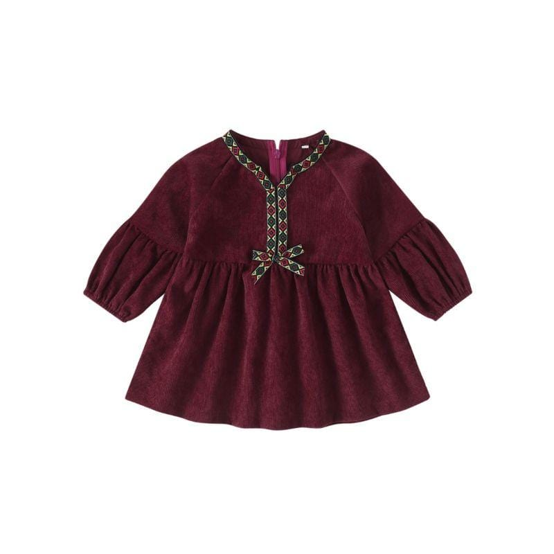 Little Girls Burgundy Corduroy Dress - The Palm Beach Baby