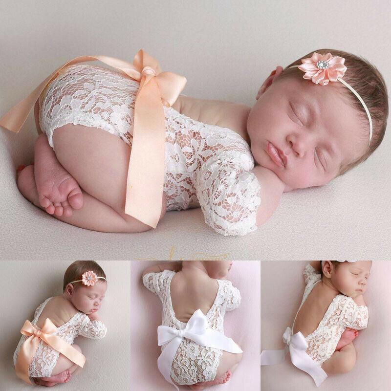 Newborn's Sweet Lace V-Back Romper Set - The Palm Beach Baby
