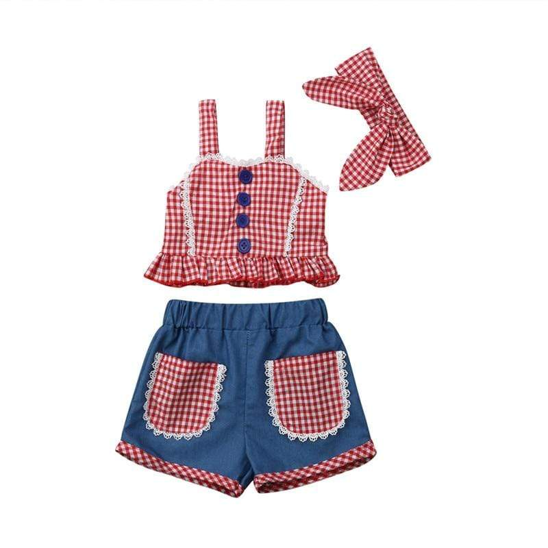 """Sara-Jane"" 3 PC Checked Shorts Set - The Palm Beach Baby"