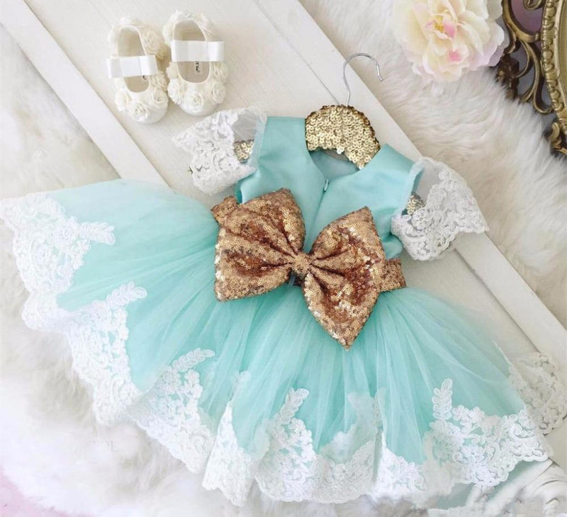 "Chic ""Elise"" Lace Occasion Dress With Big Bow - The Palm Beach Baby"