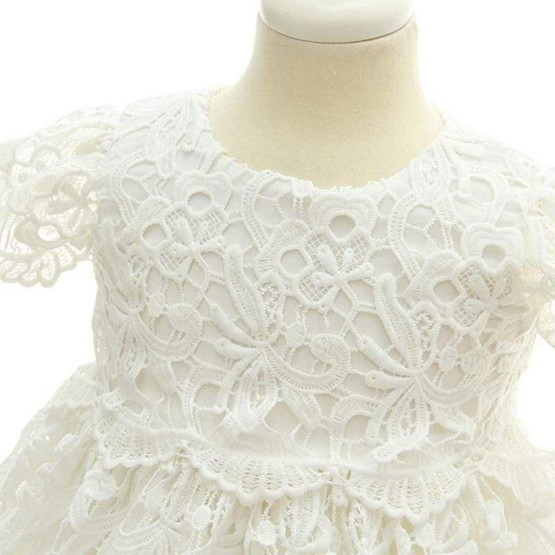 "The ""Amanda-Louise"" Lace Baptism Dress With Matching Bonnet - The Palm Beach Baby"
