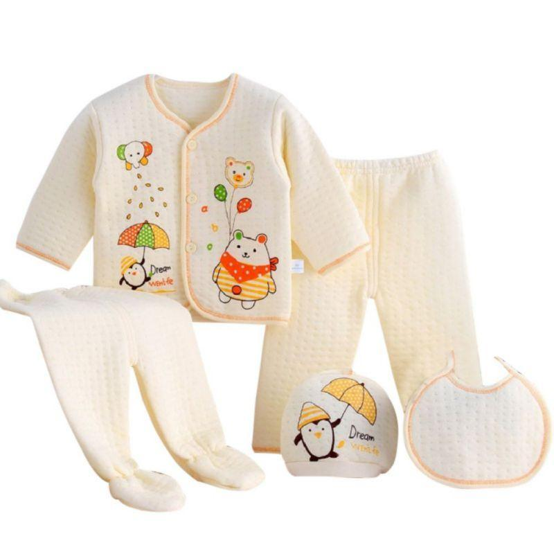 5 PC Ultra-Soft Thick Cotton Baby Layette Set (4 Colors) - the-palm-beach-baby.myshopify.com