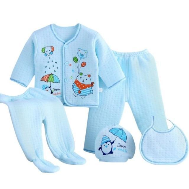 5 PC Ultra-Soft Thick Cotton Baby Layette Set (4 Colors) - The Palm Beach Baby
