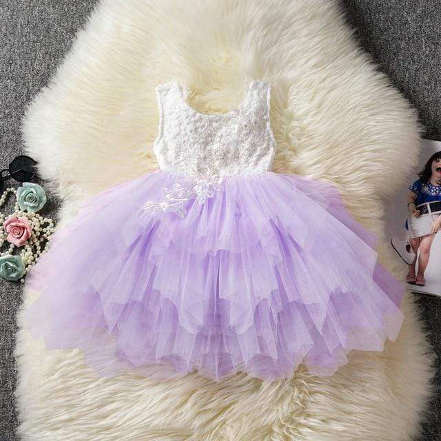 Little Girls Delicate Lace V-Back Tutu Dress - The Palm Beach Baby