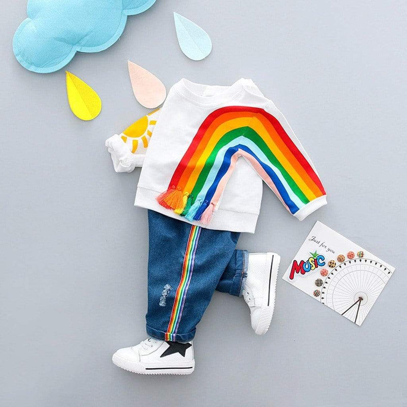"""Over The Rainbow"" 2 PC Pullover And Jeans Set - The Palm Beach Baby"