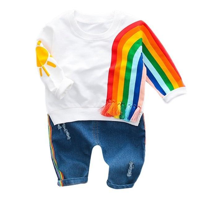 """Over The Rainbow"" 2 PC Pullover And Jeans Set - the-palm-beach-baby.myshopify.com"