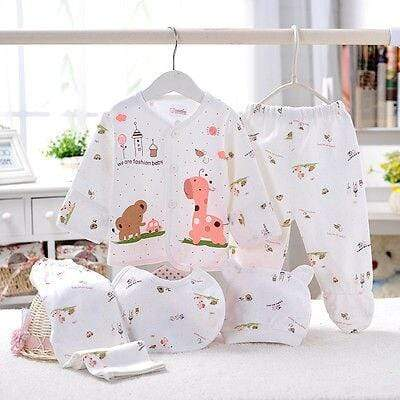 Newborn - 3 Mos. 5 PC Layette Animal Print Set - The Palm Beach Baby
