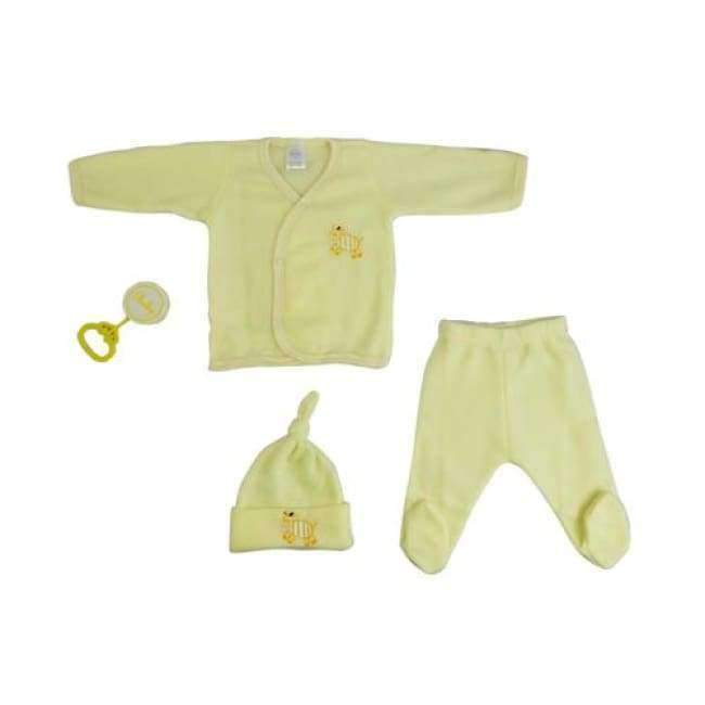4 Piece Fleece Newborn Set - Yellow - The Palm Beach Baby