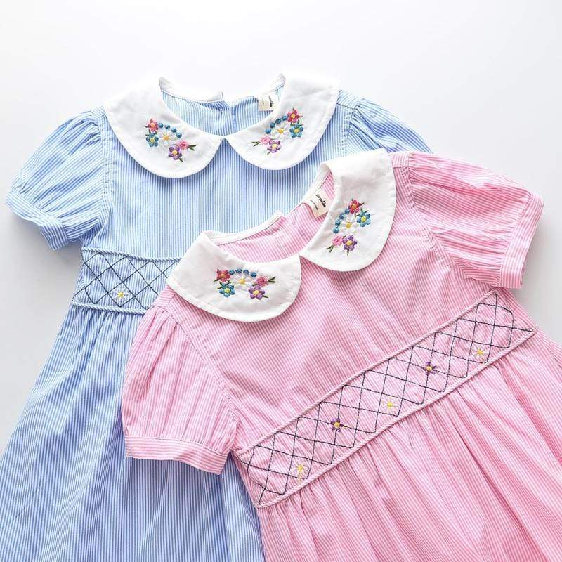 """Callie"" Embroidered Smocked Dress - The Palm Beach Baby"