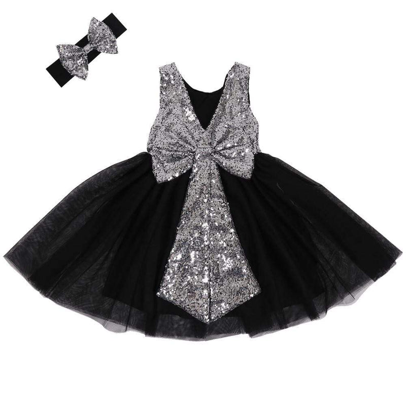 Elegant V- Back Sequin And Tulle Dress Set - The Palm Beach Baby