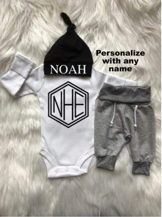 Personalized Baby Boy Coming Home Outfit - the-palm-beach-baby.myshopify.com