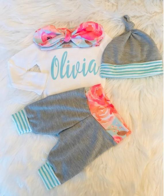 PERSONALIZED NEWBORN GIRL Coming Home Outfit - The Palm Beach Baby