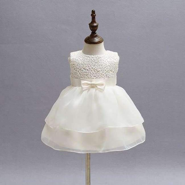 Beige Chiffon Tiered Dress (3-24 mos) - The Palm Beach Baby