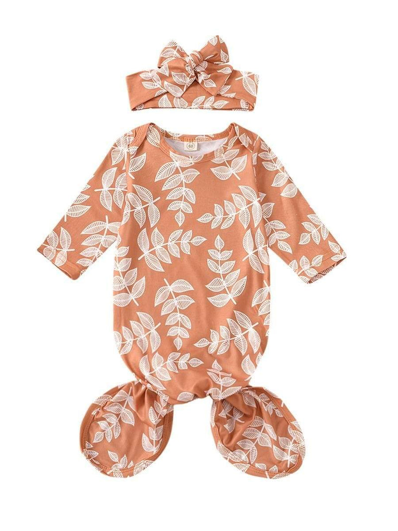 2 PC Babies Leaf Print Sleeping Tie Gown With Headband - The Palm Beach Baby