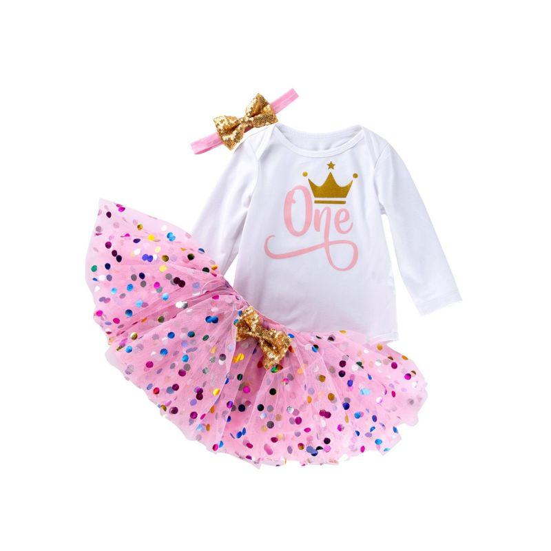 3 PC Baby Girl 1ST Birthday Outfit - The Palm Beach Baby