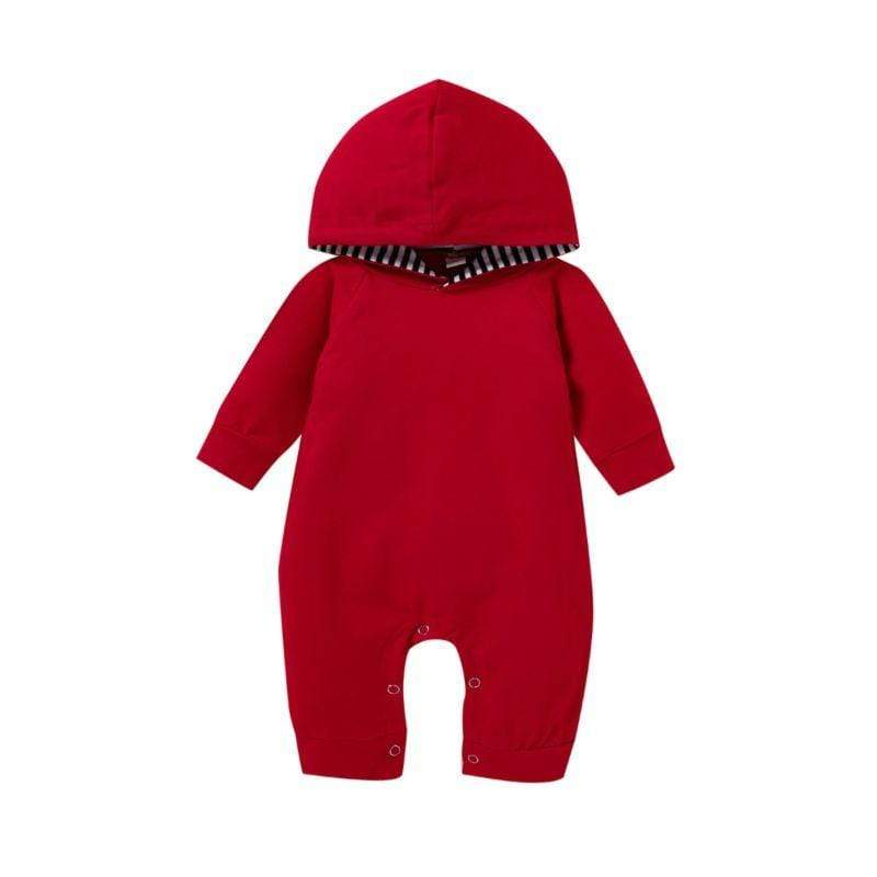 Babies Christmas-Red Hooded Romper Jumpsuit - The Palm Beach Baby