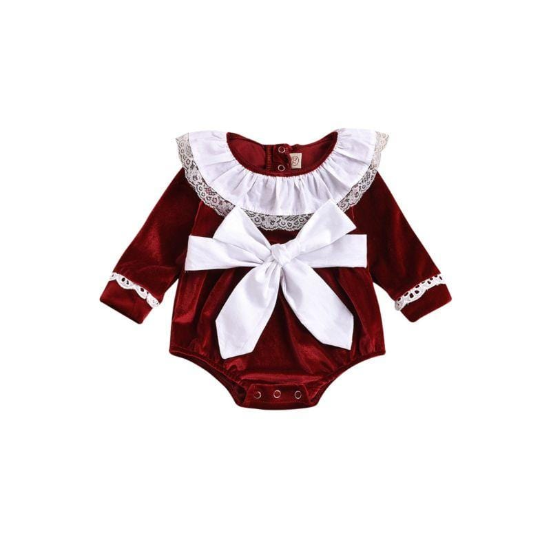 Babies Ruffled Collar Romper With Big Bow - The Palm Beach Baby
