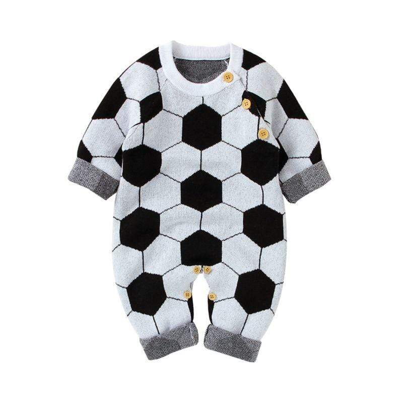 Babies Soccer Print Knitted Jumpsuit - The Palm Beach Baby