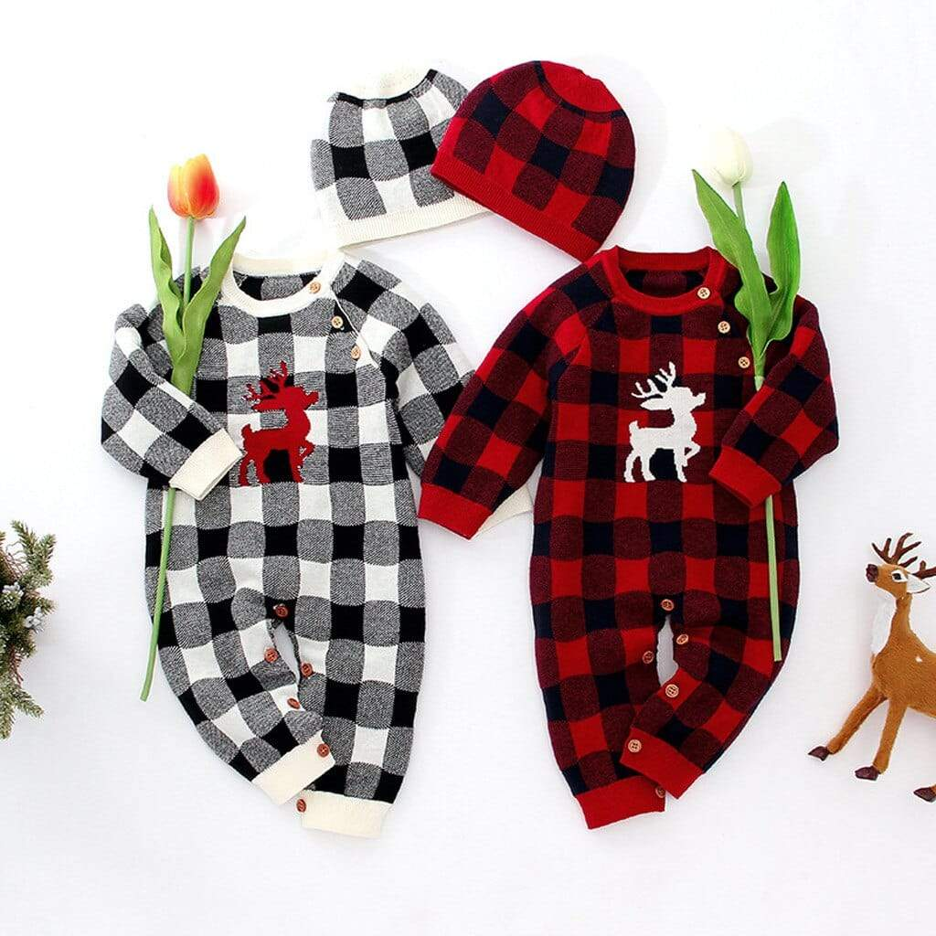 Babies Winter Plaid Reindeer Romper Jumpsuit Set - The Palm Beach Baby