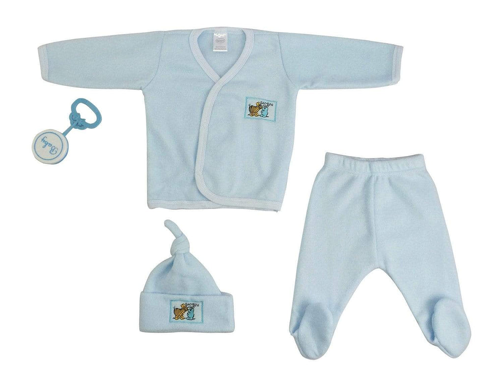 Baby Clothing Newborn / Blue 4 Piece Fleece Set - Blue -The Palm Beach Baby