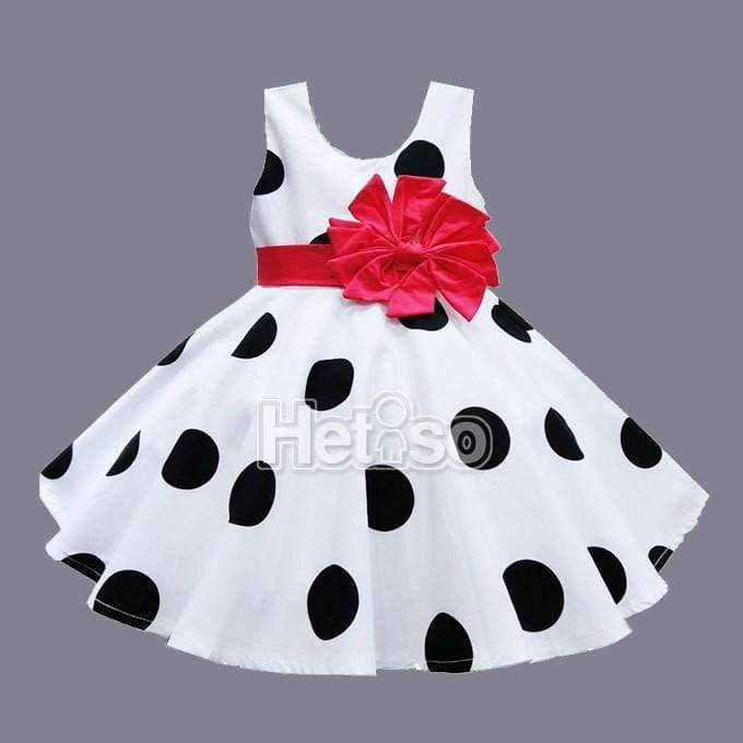 Little Girl's Black & White Polka Dotted Party Dress with Big Red Bow - The Palm Beach Baby