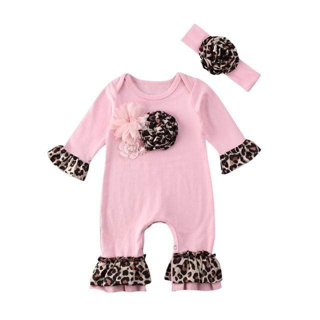 "Adorable ""Leopard Petal"" 3-D Romper 2 PC Set - The Palm Beach Baby"