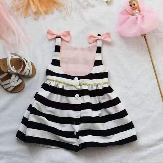 Toddler's Black & White Striped Party Dress with Pink Bows - The Palm Beach Baby