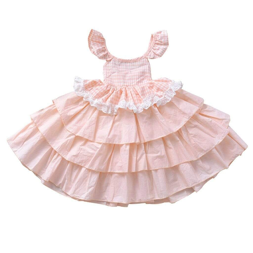 "Baby & Kids Apparel ""Adalynn"" Pink Tiered Party Dress -The Palm Beach Baby"