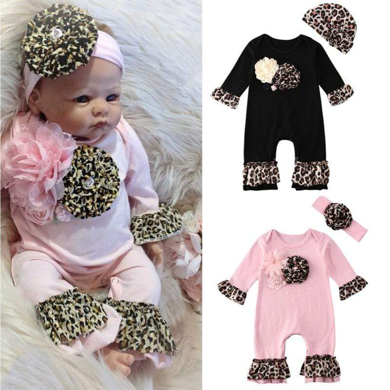 "Baby & Kids Apparel Adorable ""Leopard Petal"" 3 D Romper 2 PC Set -The Palm Beach Baby"