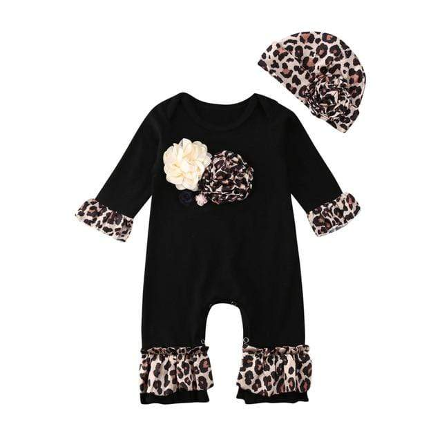 "Baby & Kids Apparel B / 6M / United States Adorable ""Leopard Petal"" 3 D Romper 2 PC Set -The Palm Beach Baby"