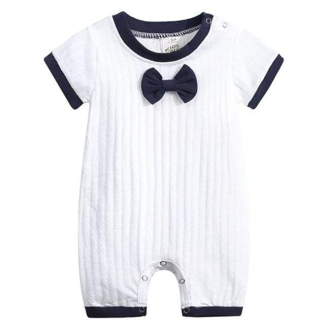 Peter Pan Collar White Romper With Bow Tie - The Palm Beach Baby