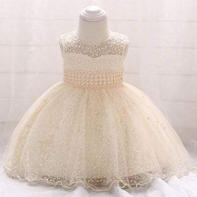 "Baby & Kids Apparel Champagne / 9M ""Genivieve"" Pearl  Special Occasion Dress -The Palm Beach Baby"