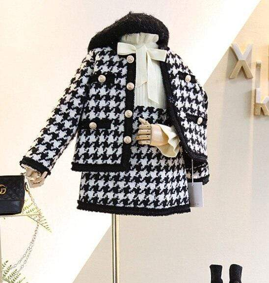 Elegant 2 PC Houndstooth Coat + Skirt - The Palm Beach Baby